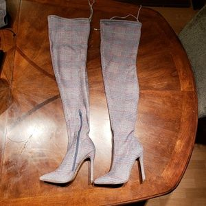 Forever 21 gray glen plaid thigh high boots